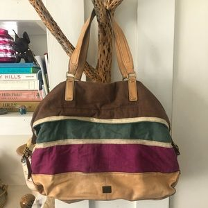 Jobs canvas and leather tote